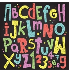 Colorful chalk board letters and numbers Vintage vector image