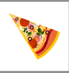 slice of pizza with ham and tomatos street fast vector image vector image