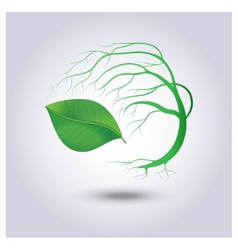 Tree with green leaves on a light gray background vector image vector image