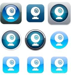 Webcam blue app icons vector image vector image