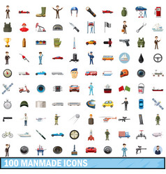 100 manmade icons set cartoon style vector