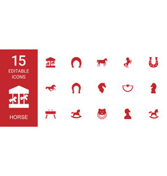 15 horse icons vector