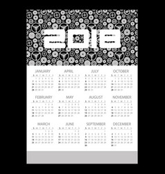 2018 simple business wall calendar with clock vector