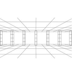 3d outline interior vector