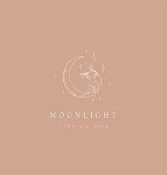 Abstract line moon logo with stars and florals vector
