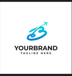 Airplane logo design with capital letter b vector