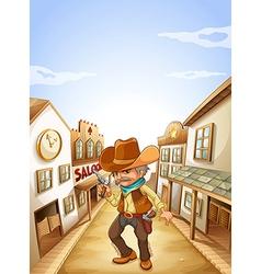 An old man holding a gun near the saloon vector image