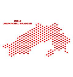 arunachal pradesh state map - mosaic of heart vector image