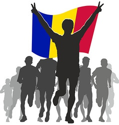 Athlete with the Andorra flag at the finish vector