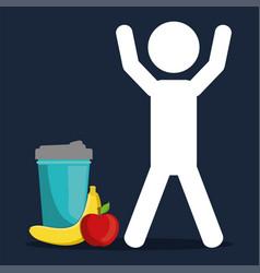 Avatar man gym fitness food nutrition vector