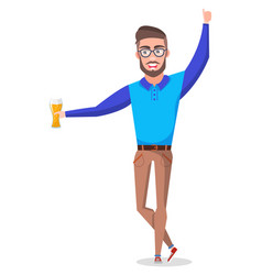 Bachelor holding beer in glass in hands party vector
