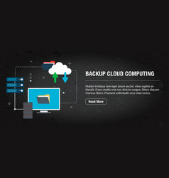 Backup cloud computing banner internet with icons vector