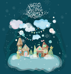 Beautiful holiday with gingerbread houses vector