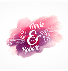 Beautiful pink paint stroke effect with wedding vector