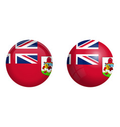 Bermuda flag under 3d dome button and on glossy vector