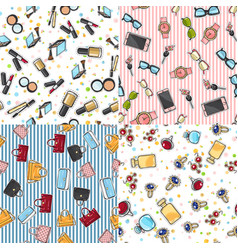 big set of fashion objects seamless pattern vector image