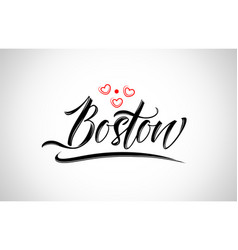 boston city design typography with red heart icon vector image