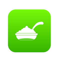 bowl of caviar with spoon icon digital green vector image