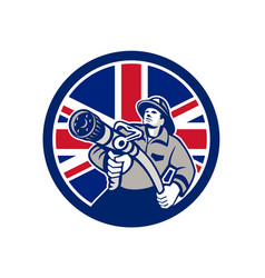 british firefighter union jack flag icon vector image
