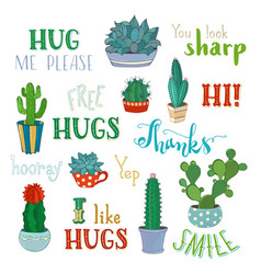 Cacti and hand-written lettering vector