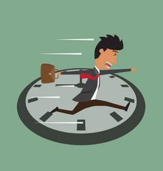 Cartoon businessman running on clock jumps over vector