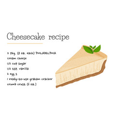 Classic cheesecake dessert recipe sweet vector