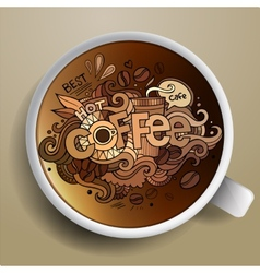 Coffee doodles elements background vector