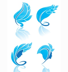 Collection of blue beauty vector
