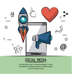 colorful poster of social media with icons rocket vector image