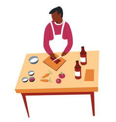 cooking hobculinary man at kitchen and dish vector image