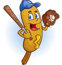 Corn dog baseball cartoon character vector