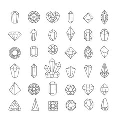 Crystal isolated icons jewel or treasure outline vector