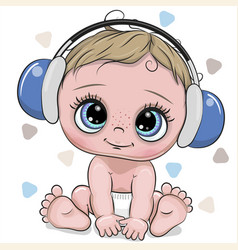 cute cartoon baby boy with headphones on a white vector image