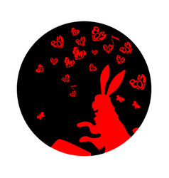 cute funny animal rabbit or hare pounding the vector image