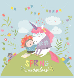 Cute girl hugging unicorn spring wonderland vector