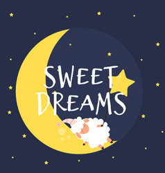 Cute little sheep on the night sky sweet dreams vector