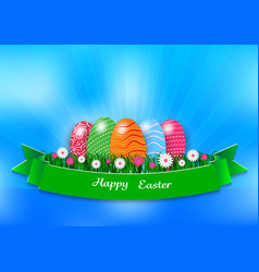 easter holiday background with eggs and green vector image