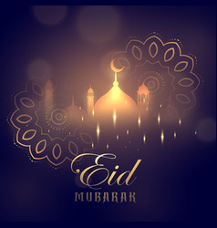 Eid mubarak greeting card design with glowing vector
