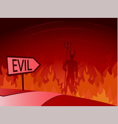 Evil and road to hell vector