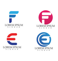 F business letter logo and symbols template icons vector