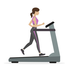 Fitness girl on the treadmill vector