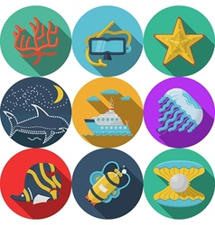 Flat color icons for sea leisure vector image