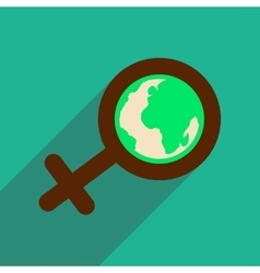 Flat icon with long shadow feminine sign Global vector