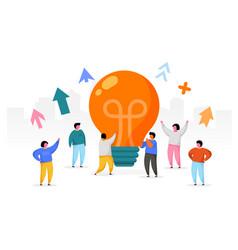 flat people with big light bulb idea innovation vector image