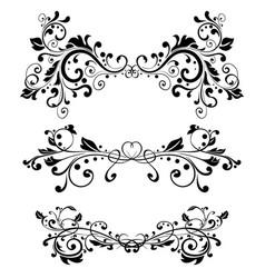 Floral ornaments black vintage dividers vector