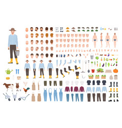 garden or farm worker creation set or constructor vector image