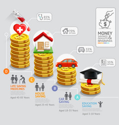 Gold coins money stack infographics template vector