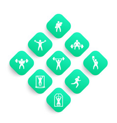 gym fitness exercises icons set vector image