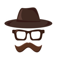 hat glasses and mustache retro icon hipster vector image