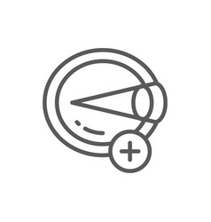 Hyperopia eye disease astigmatism line icon vector